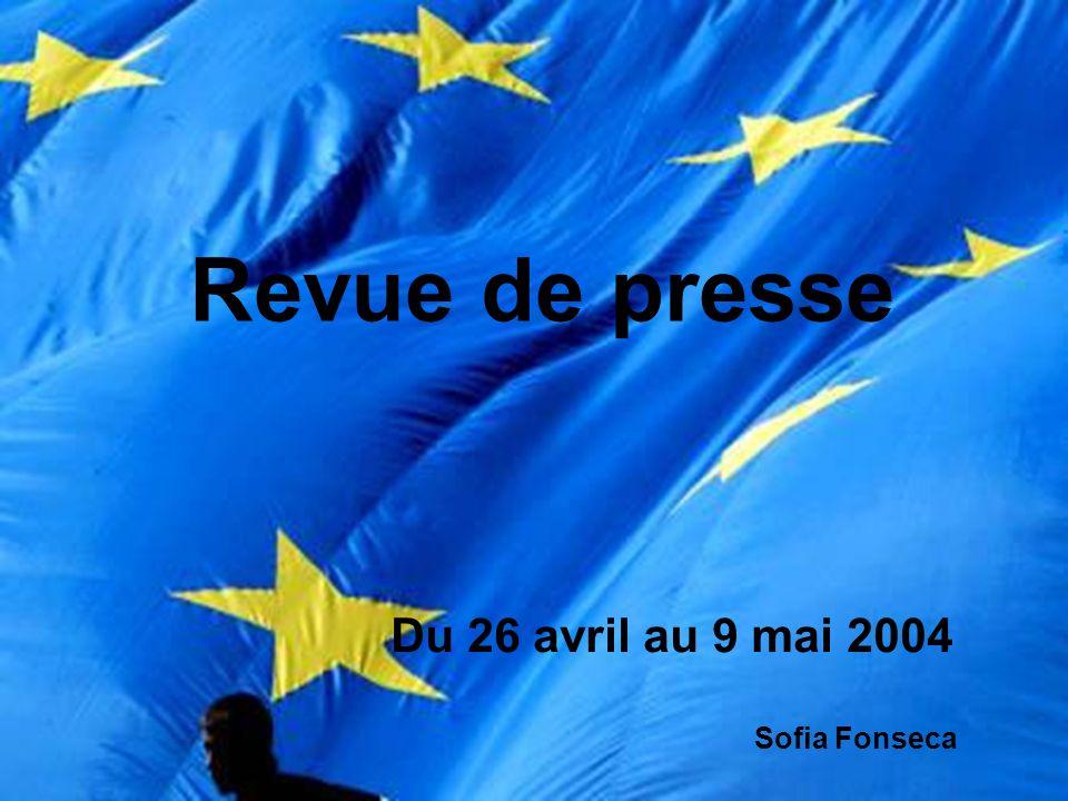 LÉlargissement « Après l échec de l ONU, l Union européenne hérite de l imbroglio chypriote » ( 27 avril 2004);l échec « Chirac repousse à dix ans l adhésion de la Turquie » (29 avril 2004);repousse « Tony Blair, VRP de l élargissement européen » ( 30 avril 2004); « L Europe élargie célèbre ses retrouvailles à Dublin » ( 1 mai 2004);retrouvailles « 1er mai 2004, une Europe réunie forte de 450 millions d habitants » (2 mai 2004); « L élargissement renforce le système transatlantique » ( 2 mai 2004); « Les dirigeants des 25 pays de la nouvelle Europe ont célébré l élargissement avec émotion à Dublin » (4 mai 2004); « L Amérique latine va souffrir de l élargissement de l Europe » (4 mai 2004);