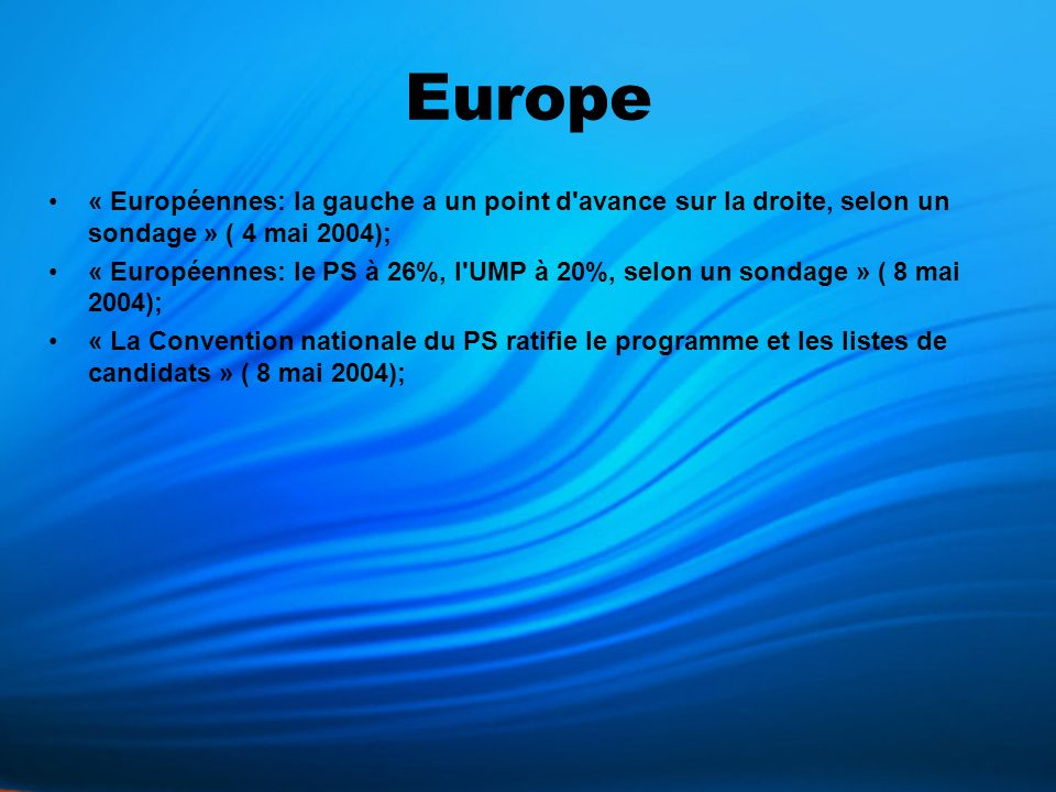 Resumé L avance des listes de gauche se réduit à un mois et demi des européennes du 13 juin prochain en France: elles sont créditées de 39%, soit seulement un point de plus que celles de droite, selon un sondage CSA; Le Parti socialiste est crédité de 26% des intentions de vote pour les élections européennes du 13 juin, l UMP de 20%, le Front national de 13%, l UDF de 10% et les Verts de 8%, selon un sondage IFOP.La liste du PS enregistre une baisse de deux points par rapport au sondage similaire réalisé les 22-23 avril, l UMP et le Front national restent stables, l UDF progresse de deux points et les Verts reculent d un point.