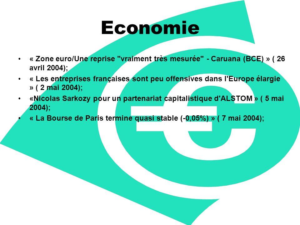 Economie « Zone euro/Une reprise vraiment très mesurée - Caruana (BCE) » ( 26 avril 2004); « Les entreprises françaises sont peu offensives dans l Europe élargie » ( 2 mai 2004); «Nicolas Sarkozy pour un partenariat capitalistique d ALSTOM » ( 5 mai 2004); « La Bourse de Paris termine quasi stable (-0,05%) » ( 7 mai 2004);