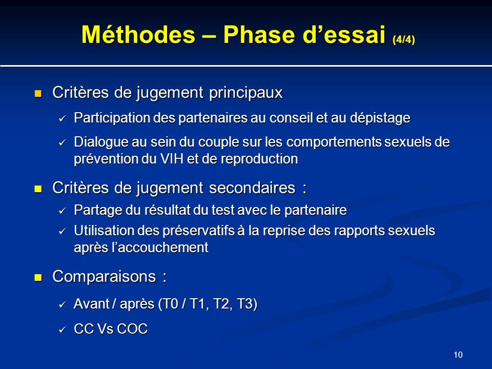 10 Méthodes – Phase dessai (4/4) Critères de jugement principaux Critères de jugement principaux Participation des partenaires au conseil et au dépist