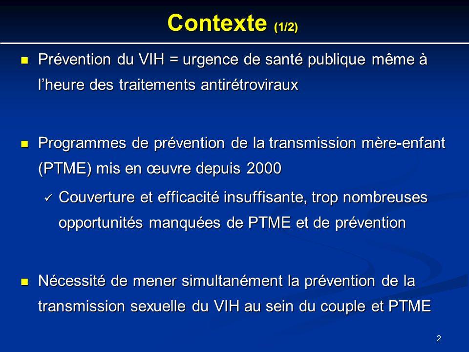 2 Contexte (1/2) Prévention du VIH = urgence de santé publique même à lheure des traitements antirétroviraux Prévention du VIH = urgence de santé publ