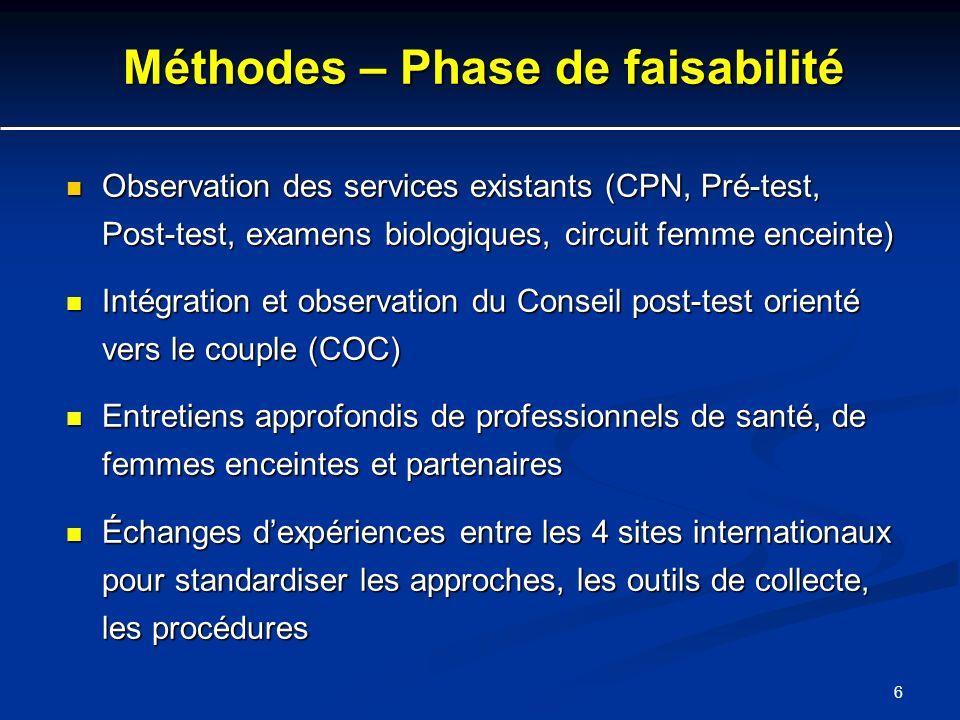 6 Méthodes – Phase de faisabilité Observation des services existants (CPN, Pré-test, Post-test, examens biologiques, circuit femme enceinte) Observati