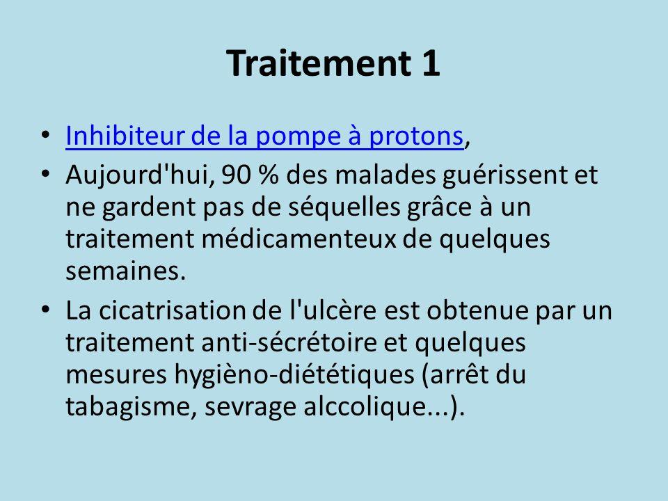 Traitement 1 Inhibiteur de la pompe à protons, Inhibiteur de la pompe à protons Aujourd'hui, 90 % des malades guérissent et ne gardent pas de séquelle