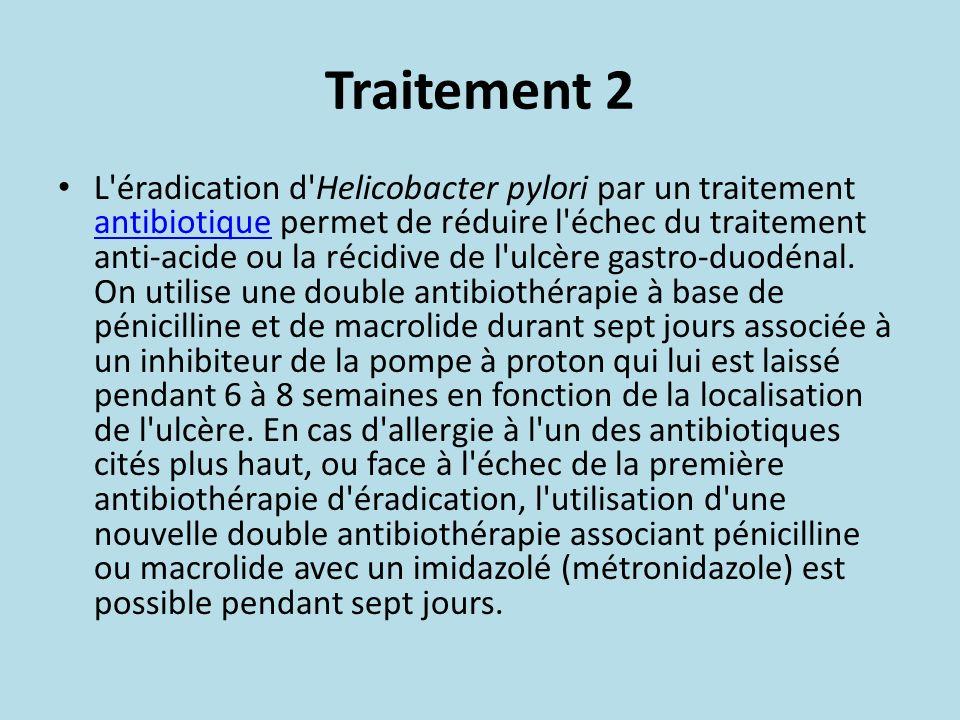 Traitement 2 L'éradication d'Helicobacter pylori par un traitement antibiotique permet de réduire l'échec du traitement anti-acide ou la récidive de l