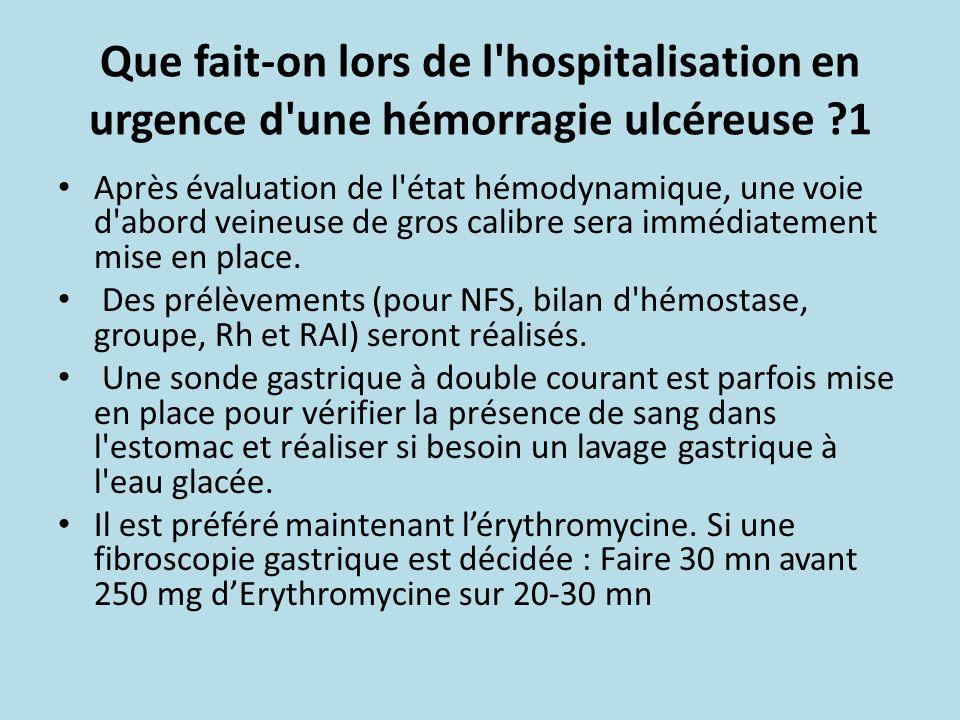 Que fait-on lors de l'hospitalisation en urgence d'une hémorragie ulcéreuse ?1 Après évaluation de l'état hémodynamique, une voie d'abord veineuse de