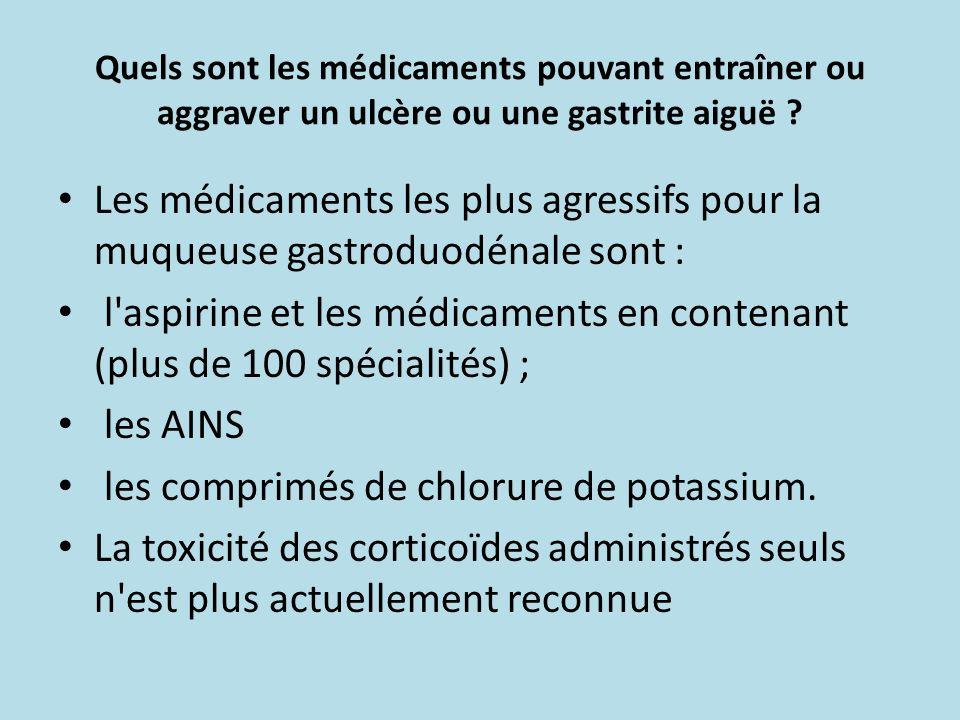 Quels sont les médicaments pouvant entraîner ou aggraver un ulcère ou une gastrite aiguë ? Les médicaments les plus agressifs pour la muqueuse gastrod