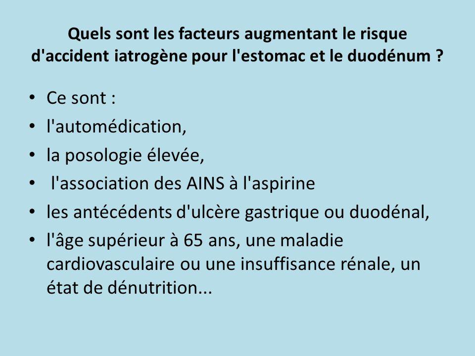 Quels sont les facteurs augmentant le risque d'accident iatrogène pour l'estomac et le duodénum ? Ce sont : l'automédication, la posologie élevée, l'a