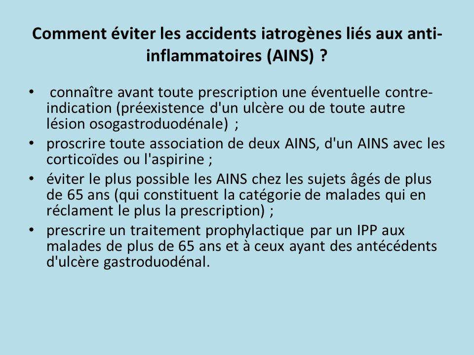Comment éviter les accidents iatrogènes liés aux anti- inflammatoires (AINS) ? connaître avant toute prescription une éventuelle contre- indication (p