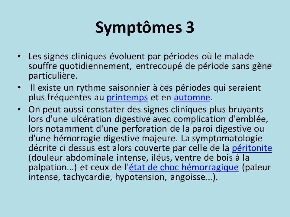 Symptômes 3 Les signes cliniques évoluent par périodes où le malade souffre quotidiennement, entrecoupé de période sans gène particulière. Il existe u