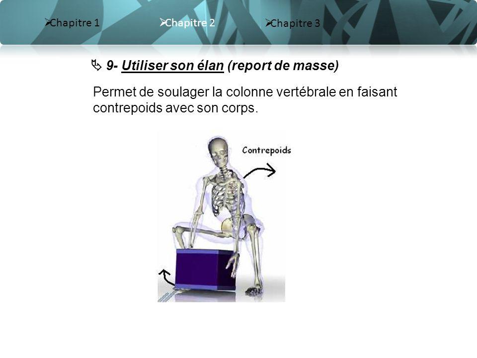 Chapitre 2 Chapitre 3 Chapitre 1 9- Utiliser son élan (report de masse) Permet de soulager la colonne vertébrale en faisant contrepoids avec son corps.