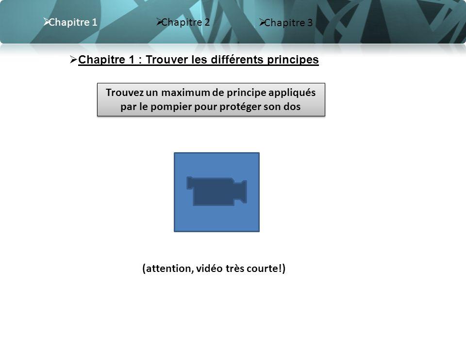 Chapitre 2 Chapitre 3 Chapitre 1 Chapitre 1 : Trouver les différents principes (attention, vidéo très courte!) Trouvez un maximum de principe appliqué