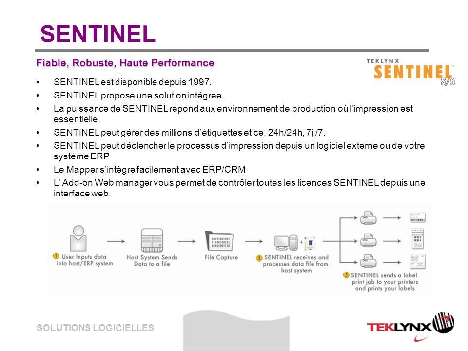 SOLUTIONS LOGICIELLES SENTINEL Fiable, Robuste, Haute Performance SENTINEL est disponible depuis 1997. SENTINEL propose une solution intégrée. La puis
