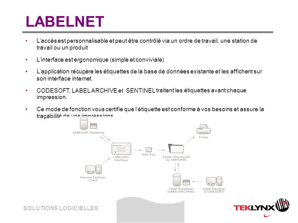 SOLUTIONS LOGICIELLES LABELNET Laccès est personnalisable et peut être contrôlé via un ordre de travail, une station de travail ou un produit Linterfa