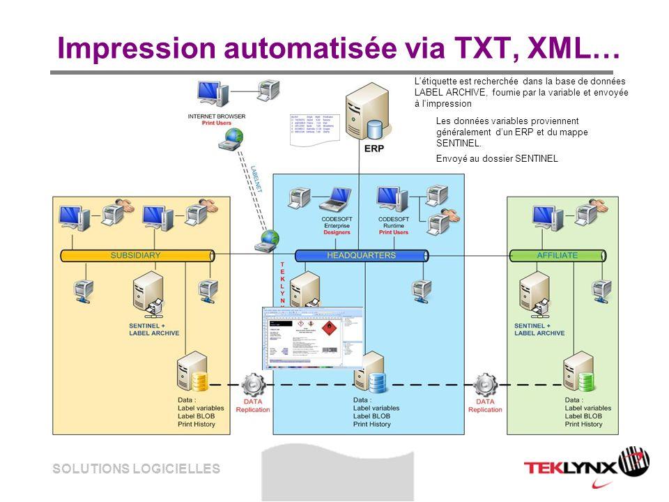 SOLUTIONS LOGICIELLES Impression automatisée via TXT, XML… Les données variables proviennent généralement dun ERP et du mappe SENTINEL. Envoyé au doss