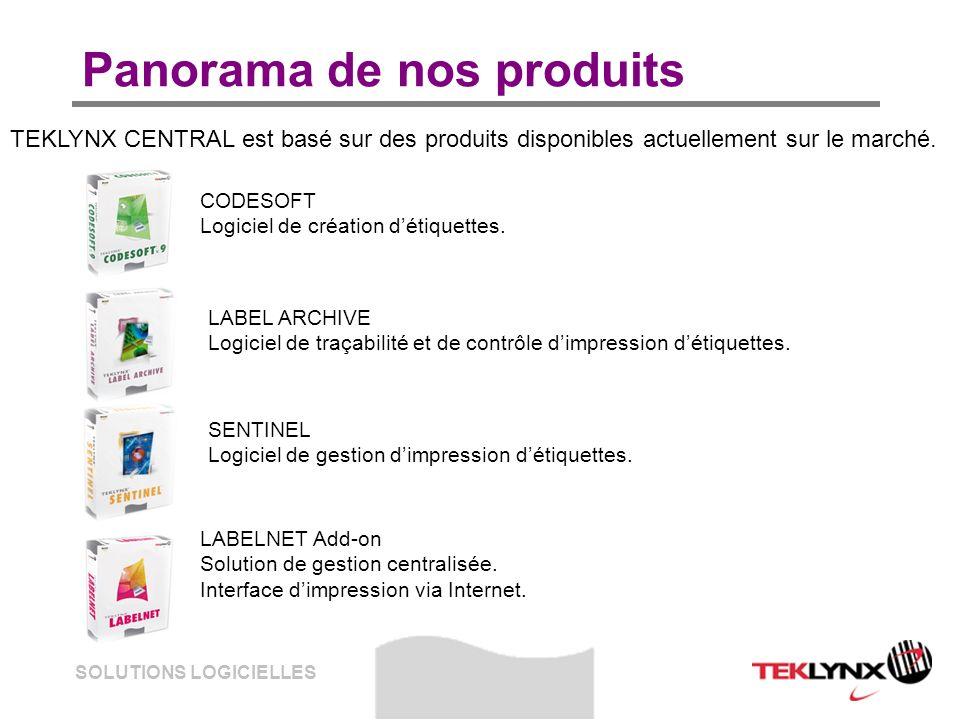 SOLUTIONS LOGICIELLES Panorama de nos produits TEKLYNX CENTRAL est basé sur des produits disponibles actuellement sur le marché. CODESOFT Logiciel de
