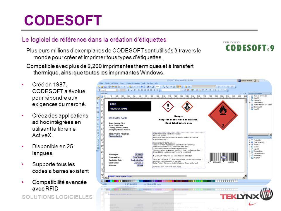 SOLUTIONS LOGICIELLES CODESOFT Créé en 1987, CODESOFT a évolué pour répondre aux exigences du marché. Créez des applications ad hoc intégrées en utili