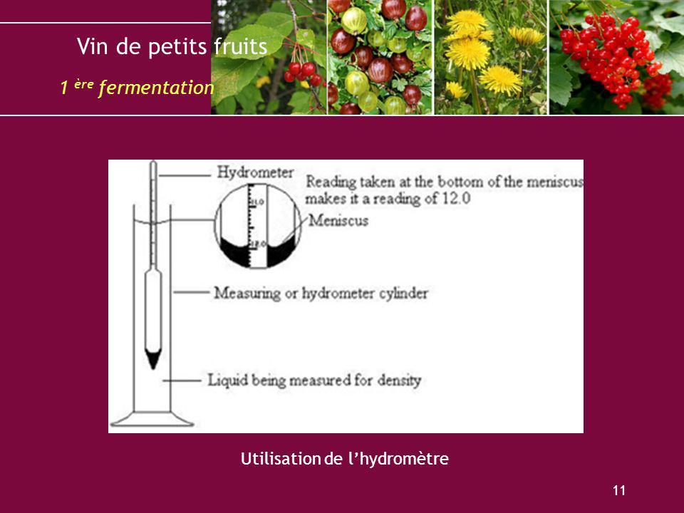 Vin de petits fruits 11 Utilisation de lhydromètre 1 ère fermentation