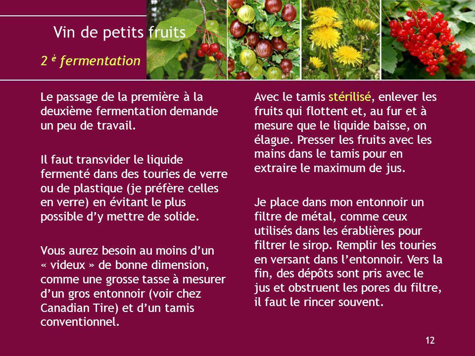 Vin de petits fruits 12 Le passage de la première à la deuxième fermentation demande un peu de travail. Il faut transvider le liquide fermenté dans de