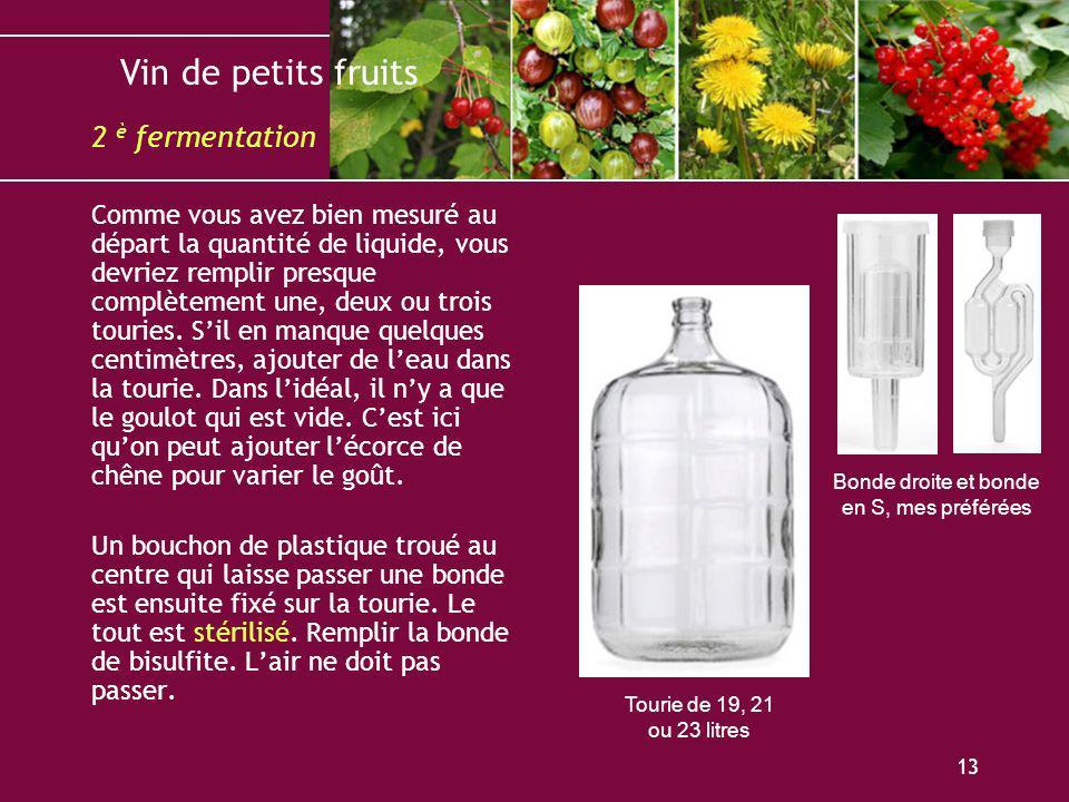 Vin de petits fruits 13 Comme vous avez bien mesuré au départ la quantité de liquide, vous devriez remplir presque complètement une, deux ou trois tou