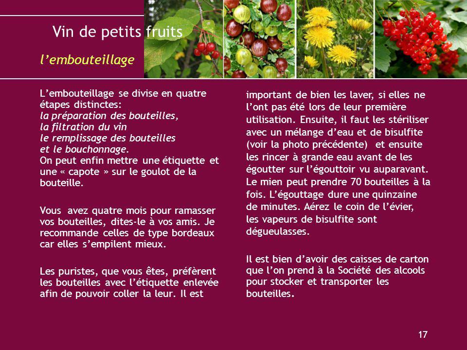 Vin de petits fruits 17 Lembouteillage se divise en quatre étapes distinctes: la préparation des bouteilles, la filtration du vin le remplissage des b