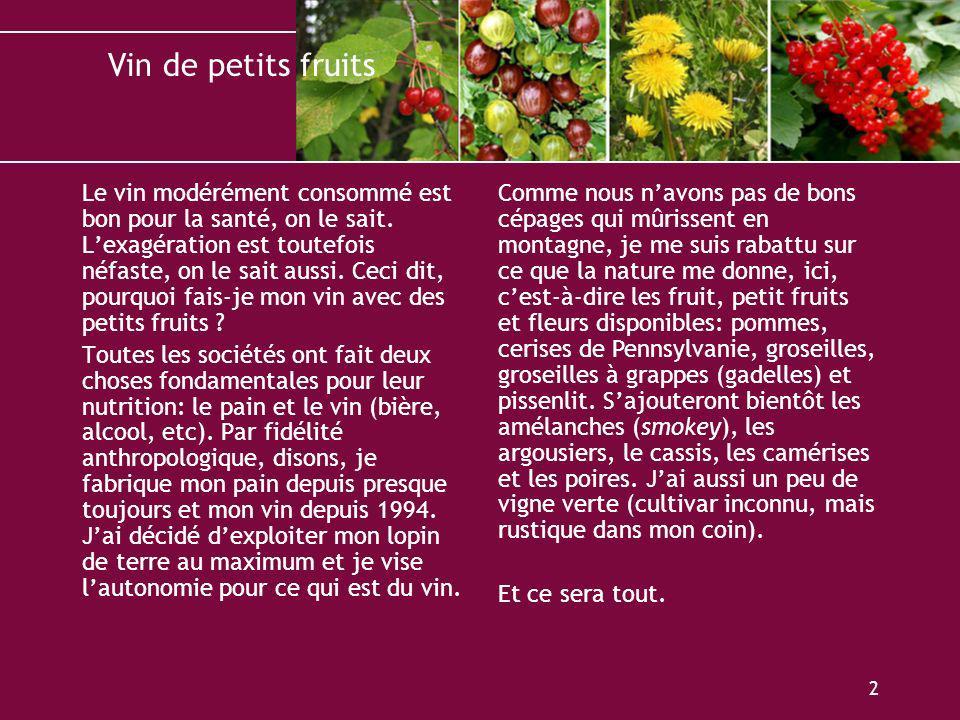 Vin de petits fruits 3 Faire son vin est aussi une activité enivrante: elle sétend sur plusieurs mois et lon procède à toutes les les étapes de la production, de la cueillette à lembouteillage.