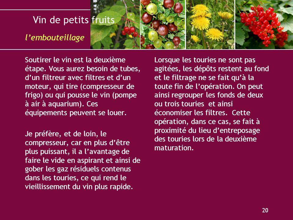 Vin de petits fruits 20 Soutirer le vin est la deuxième étape. Vous aurez besoin de tubes, dun filtreur avec filtres et dun moteur, qui tire (compress
