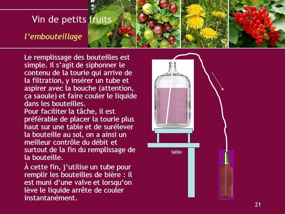 Vin de petits fruits 21 Le remplissage des bouteilles est simple. Il sagit de siphonner le contenu de la tourie qui arrive de la filtration, y insérer