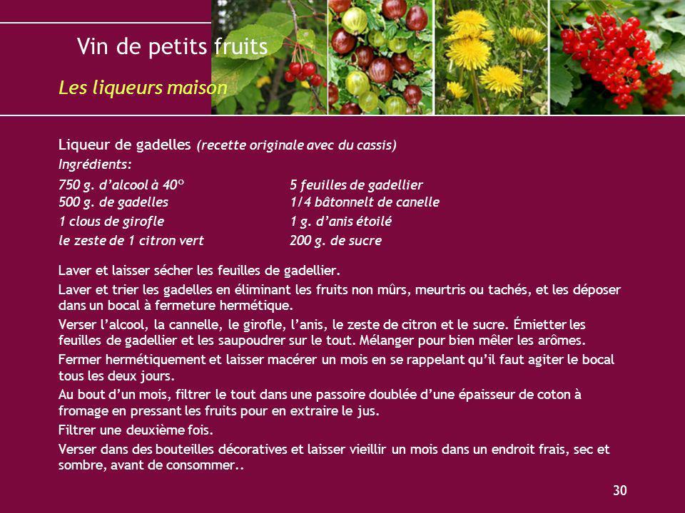 Vin de petits fruits 30 Liqueur de gadelles (recette originale avec du cassis) Ingrédients: 750 g. dalcool à 40°5 feuilles de gadellier 500 g. de gade