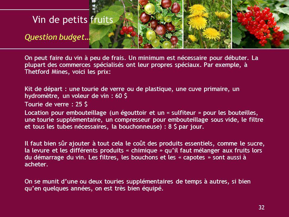 Vin de petits fruits 32 On peut faire du vin à peu de frais. Un minimum est nécessaire pour débuter. La plupart des commerces spécialisés ont leur pro