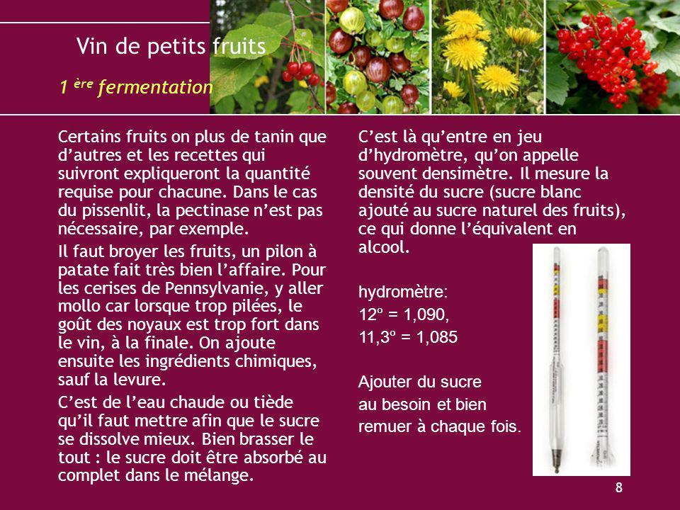 Vin de petits fruits 9 Lorsque le mélange a atteint son degré désiré en alcool, il faut laisser refroidir le tout au moins jusquà la température de la pièce, entre 20º et 23º, mettons.
