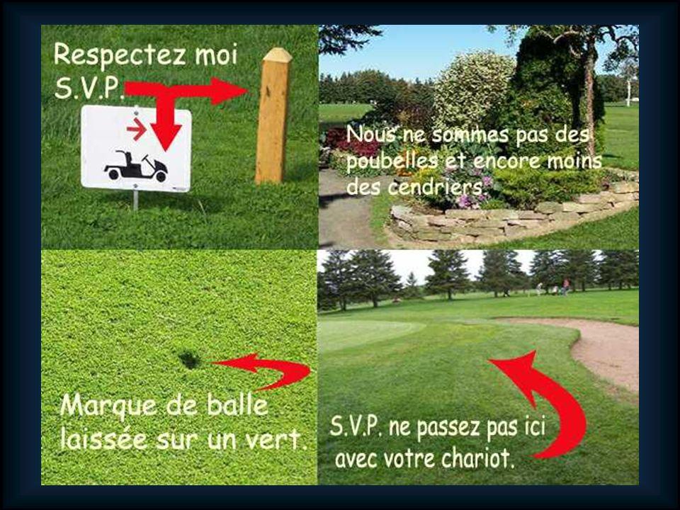 Amis golfeurs, comme vous devez le constater, notre terrain est en excellente condition, des tertres de départs jusquaux verts, et ce, sur tout le parcours.