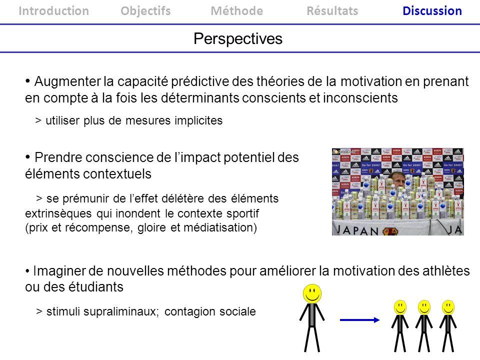 Introduction ObjectifsMéthodeRésultatsDiscussion Perspectives Augmenter la capacité prédictive des théories de la motivation en prenant en compte à la