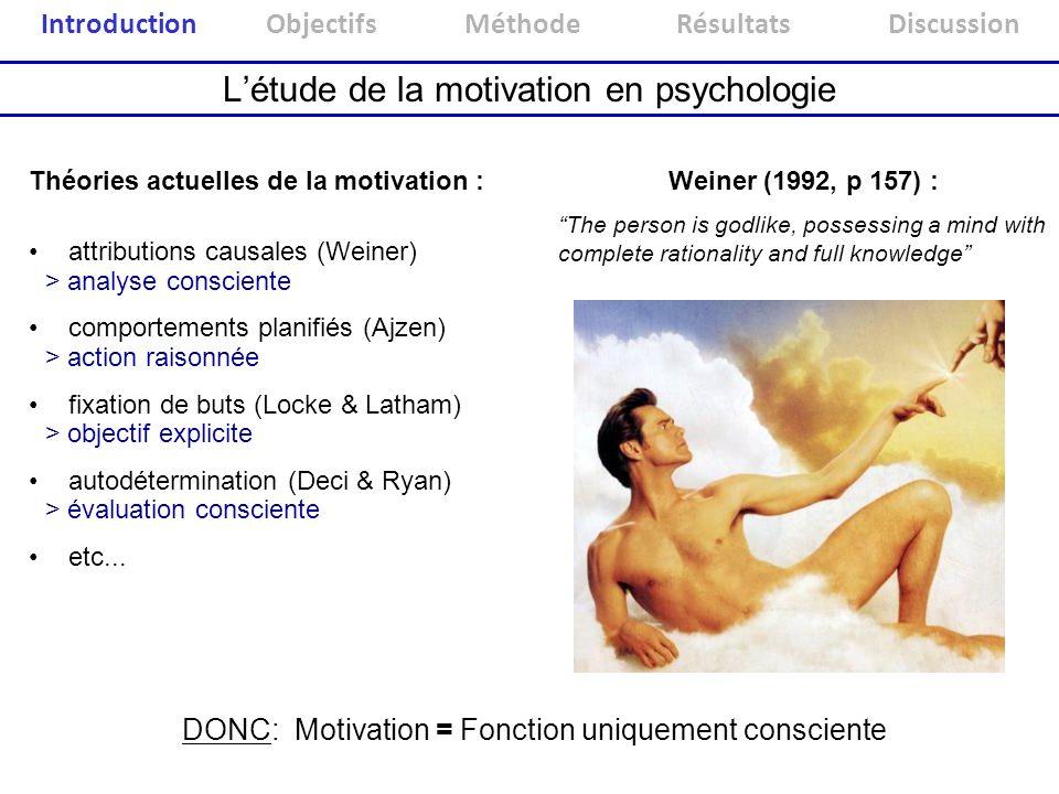 Létude de la motivation en psychologie attributions causales (Weiner) comportements planifiés (Ajzen) fixation de buts (Locke & Latham) autodéterminat