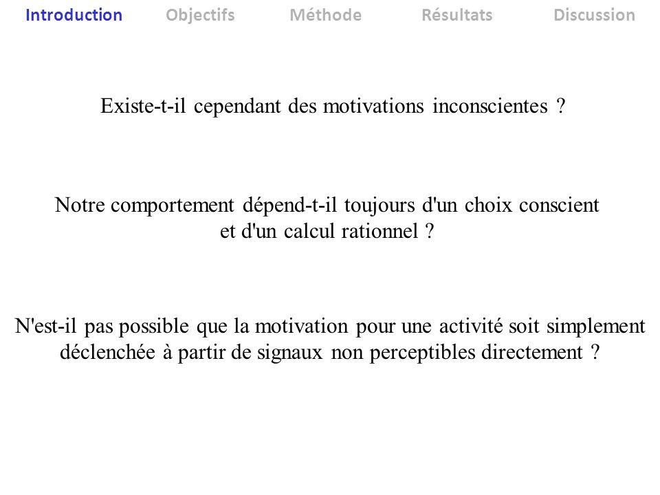 Introduction ObjectifsMéthodeRésultatsDiscussion Existe-t-il cependant des motivations inconscientes ? Notre comportement dépend-t-il toujours d'un ch