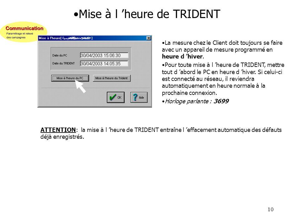 10 Mise à l heure de TRIDENT La mesure chez le Client doit toujours se faire avec un appareil de mesure programmé en heure d hiver. Pour toute mise à
