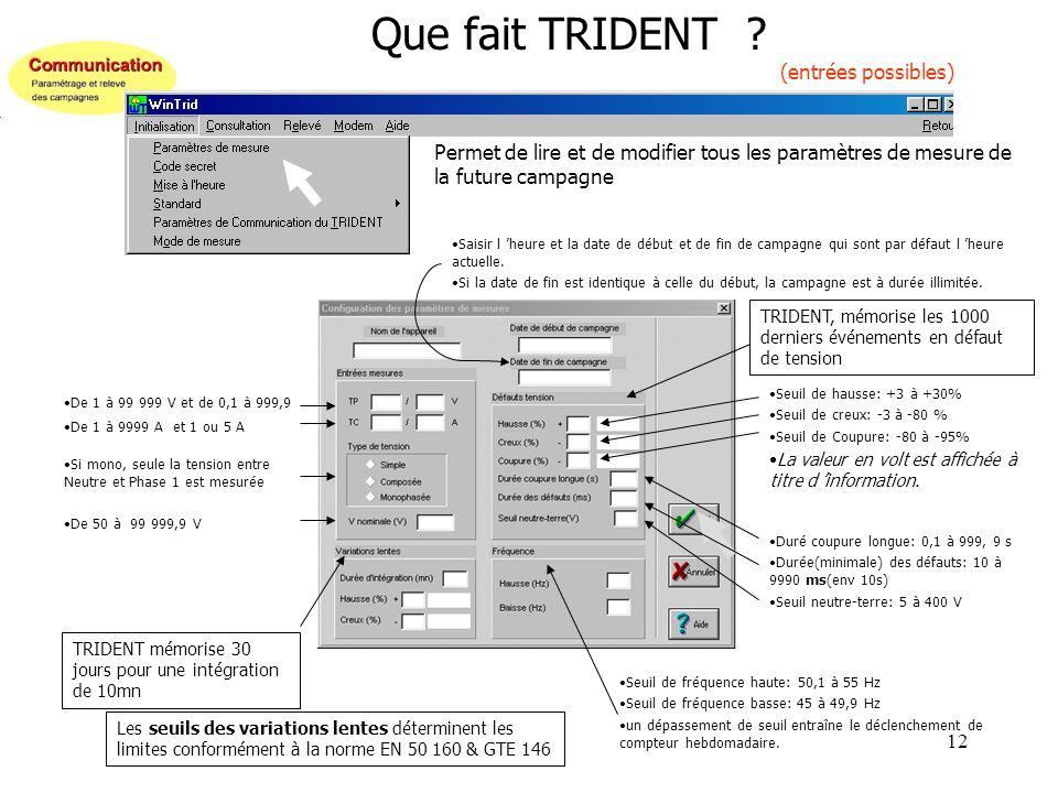 12 Que fait TRIDENT ? (entrées possibles) Permet de lire et de modifier tous les paramètres de mesure de la future campagne Saisir l heure et la date