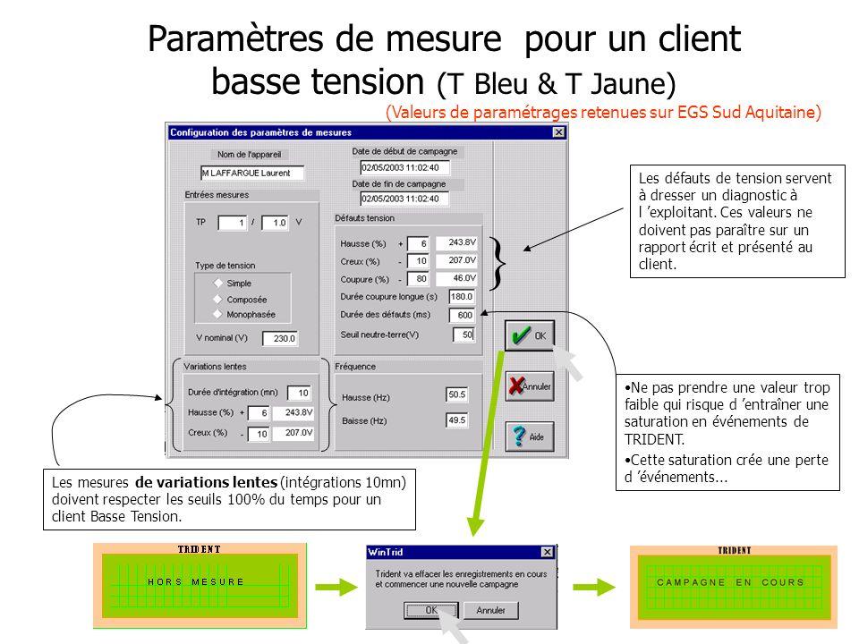 13 Paramètres de mesure pour un client basse tension (T Bleu & T Jaune) (Valeurs de paramétrages retenues sur EGS Sud Aquitaine) Les mesures de variat