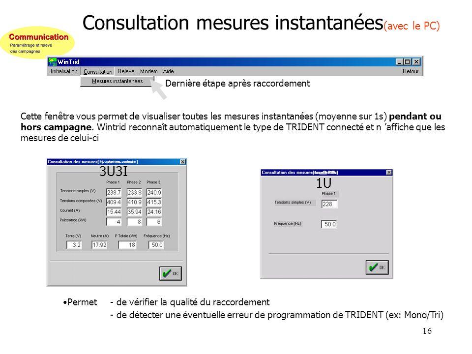 16 Consultation mesures instantanées (avec le PC) Cette fenêtre vous permet de visualiser toutes les mesures instantanées (moyenne sur 1s) pendant ou