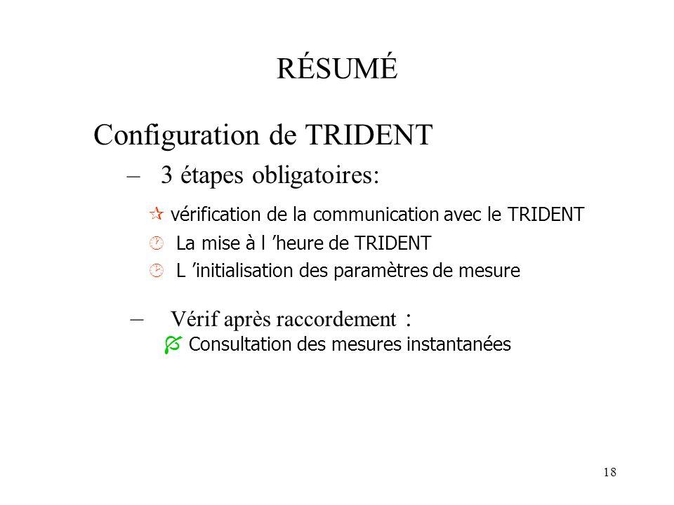 18 RÉSUMÉ Configuration de TRIDENT –3 étapes obligatoires: vérification de la communication avec le TRIDENT La mise à l heure de TRIDENT L initialisat