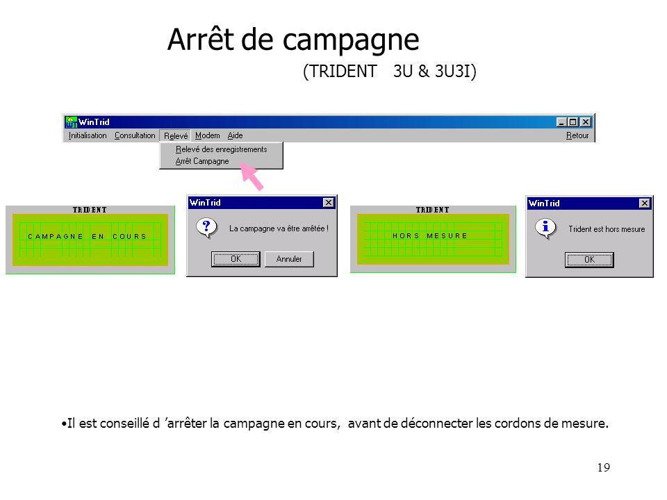 19 Arrêt de campagne (TRIDENT 3U & 3U3I) Il est conseillé d arrêter la campagne en cours, avant de déconnecter les cordons de mesure.