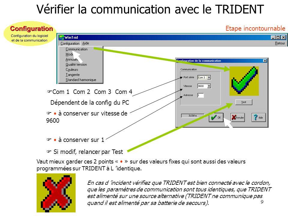 9 Vérifier la communication avec le TRIDENT Etape incontournable Com 1 Com 2 Com 3 Com 4 Dépendent de la config du PC Si modif, relancer par Test à co