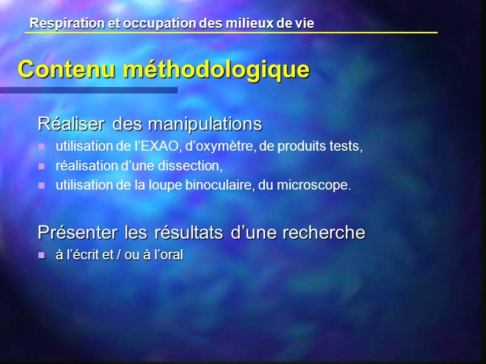 Contenu méthodologique Réaliser des manipulations utilisation de lEXAO, doxymètre, de produits tests, réalisation dune dissection, utilisation de la loupe binoculaire, du microscope.