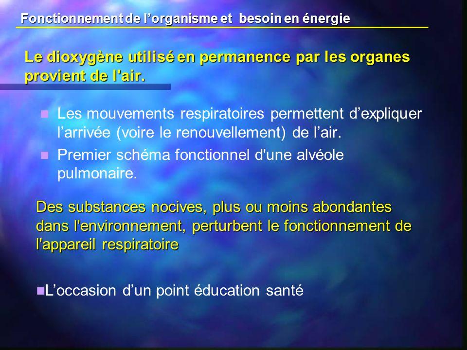 Le dioxygène utilisé en permanence par les organes provient de l air.