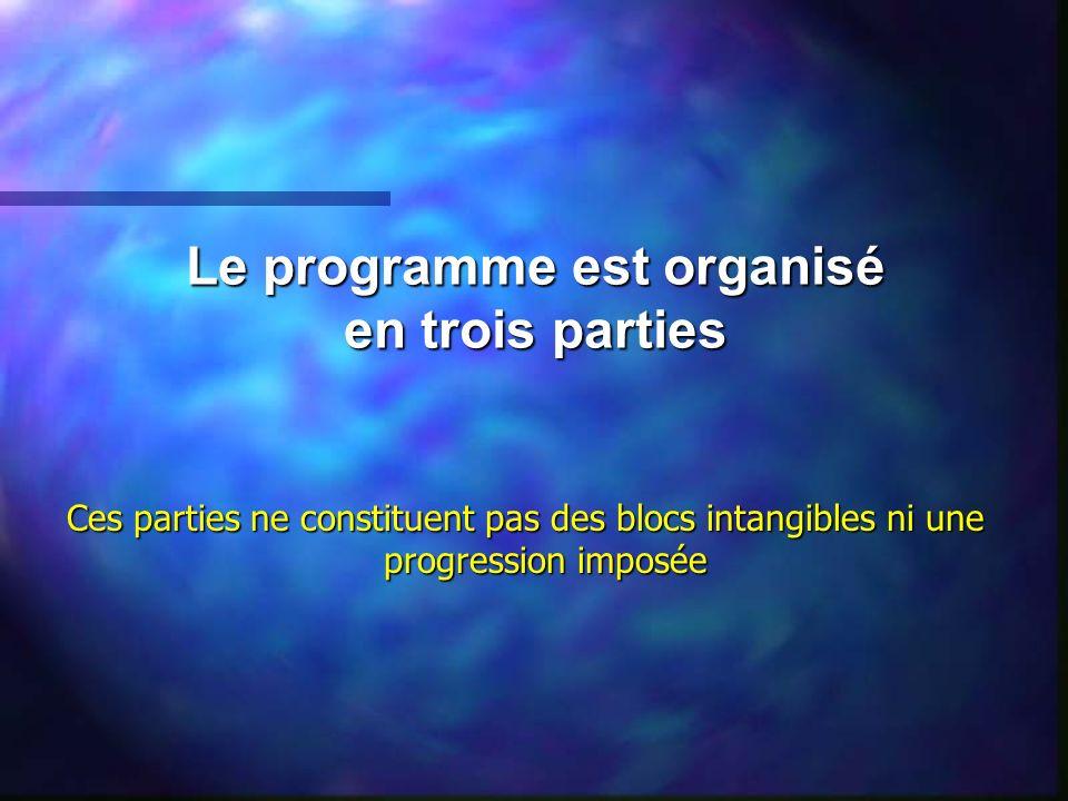 Le programme est organisé en trois parties Ces parties ne constituent pas des blocs intangibles ni une progression imposée