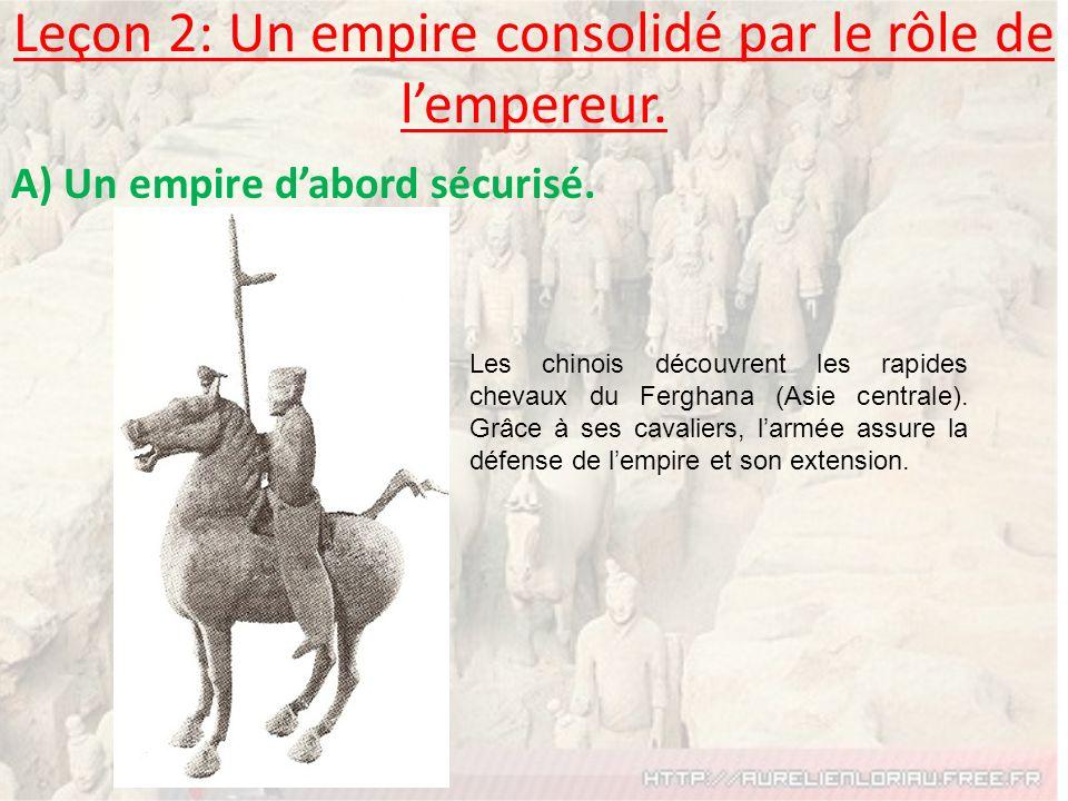 Leçon 2: Un empire consolidé par le rôle de lempereur. A) Un empire dabord sécurisé. Les chinois découvrent les rapides chevaux du Ferghana (Asie cent