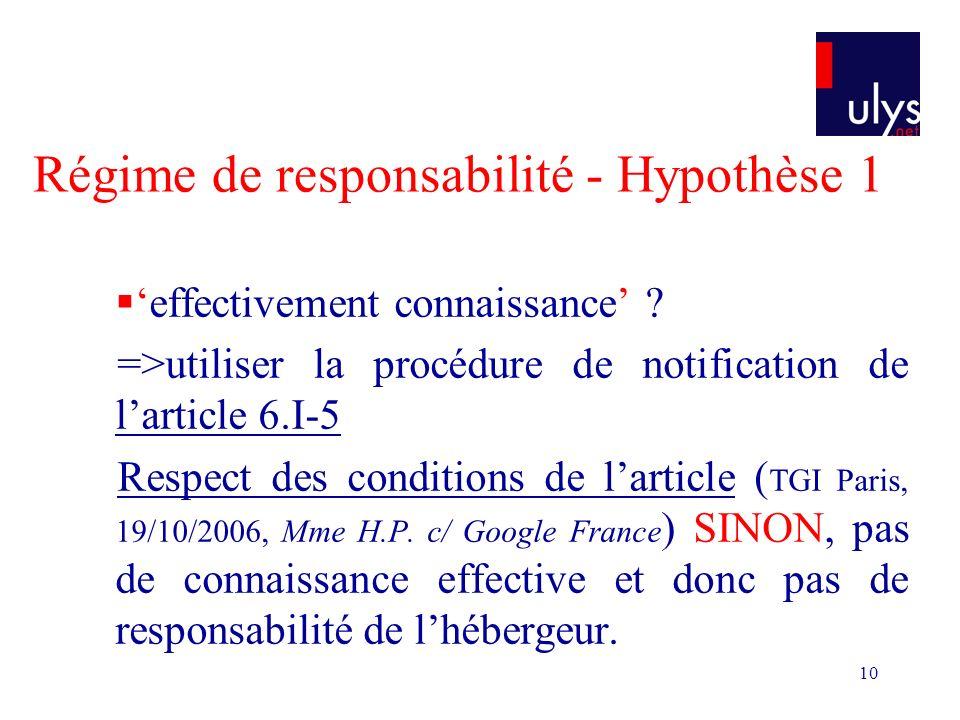10 Régime de responsabilité - Hypothèse 1 effectivement connaissance .