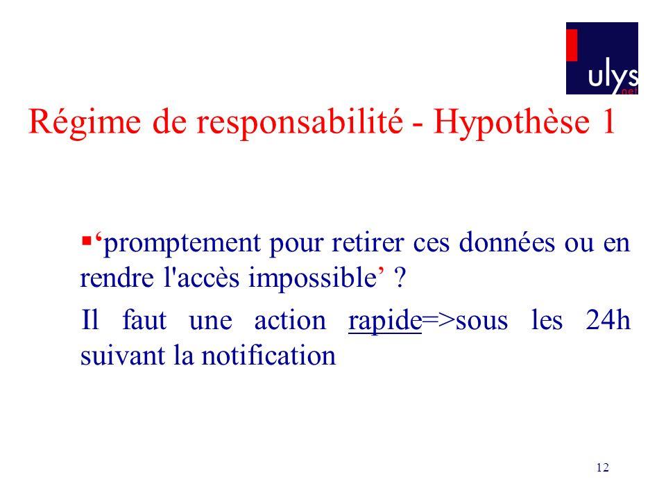 12 Régime de responsabilité - Hypothèse 1 promptement pour retirer ces données ou en rendre l accès impossible .