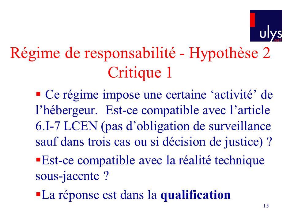 15 Régime de responsabilité - Hypothèse 2 Critique 1 Ce régime impose une certaine activité de lhébergeur.