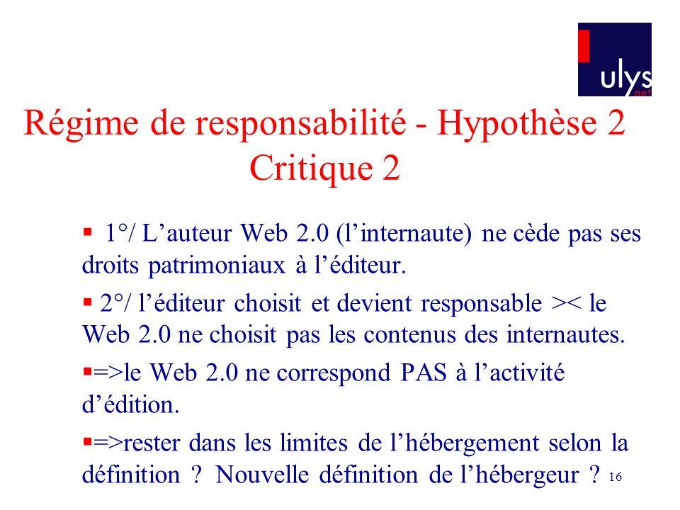 16 Régime de responsabilité - Hypothèse 2 Critique 2 1°/ Lauteur Web 2.0 (linternaute) ne cède pas ses droits patrimoniaux à léditeur.