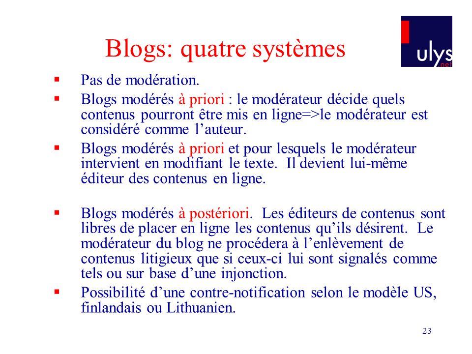 23 Blogs: quatre systèmes Pas de modération.